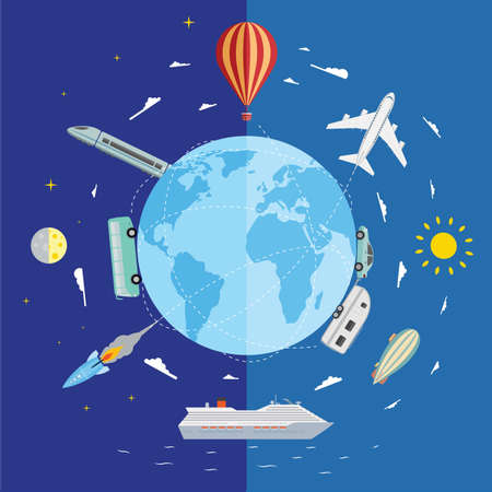 Icons of traveling, planning vacation, tourism and journey objects  Vector