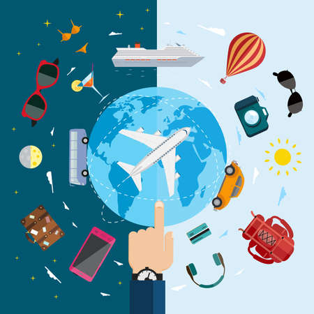 air travel: Travel infographics with data icons and elements  Flat vector illustration