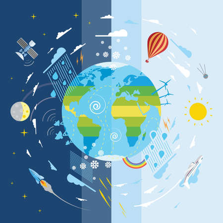 Flat vector illustration of planet Earth and weather conditions Vector