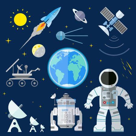 astronauta: Ilustraci�n plana de varios elementos espaciales Vectores