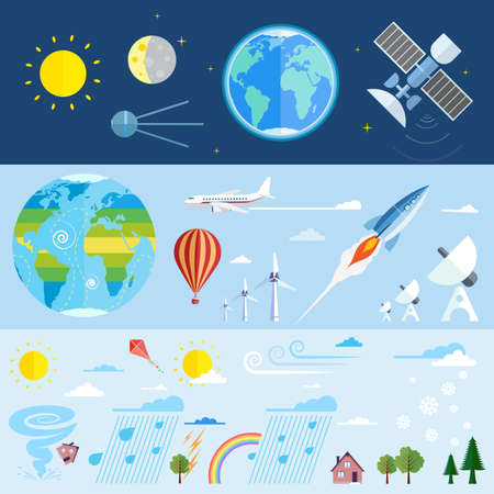 Illustration of planet Earth, space and weather research elements and weather conditions  Illustration