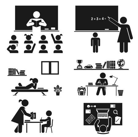 maestra: Haga copias de seguridad a la ilustración de la escuela Vectores