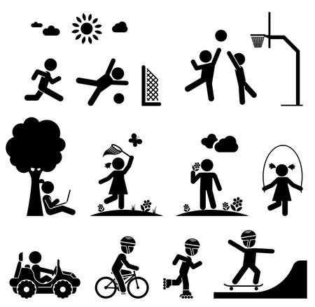 Dzieci bawią się na placu zabaw. Icon set piktogram.