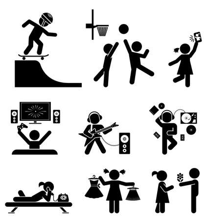 Pictograms of tenagers having fun. Vector set of flat icons. Vectores