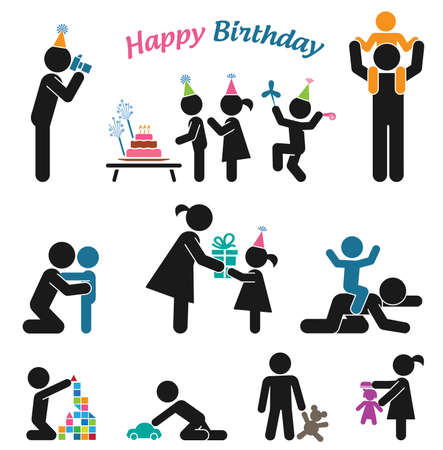 Childhood vector set. Pictogram icon set. Children birthday party. Vector