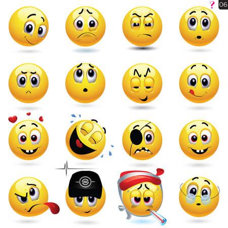 conjunto de ícones de smiley com expressão de rosto diferente