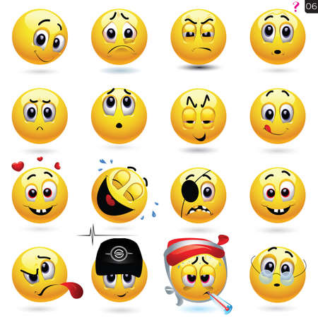 set of smiley icons with different face expression Çizim