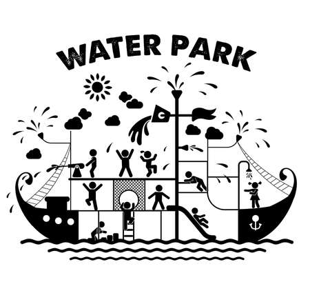 Pictogram icons of children playing in a waterpark. Children play on playground. Pictogram icon set.  イラスト・ベクター素材