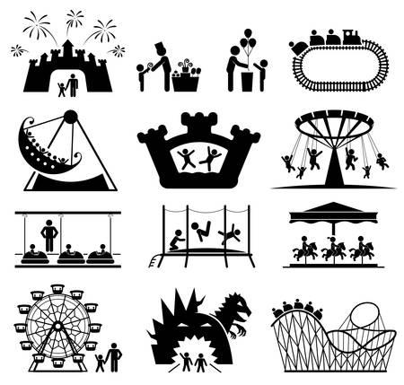 lazer: Ícones Amusement Park. As crianças brincam no parque infantil. Pictograma ícone conjunto