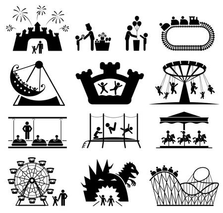 Amusement Park icons. Children play on playground. Pictogram icon set Çizim