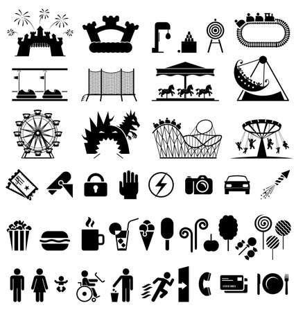 amusement park rides: Icons set fun and entertainment. Pictogram icon set.