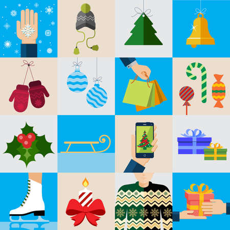 Christmas icons, elements and illustrations. Christmas Greeting Card. Vector