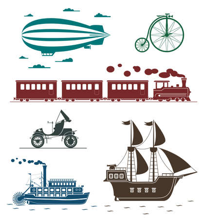 Set of vintage transportation icons: bicycle, zeppelin, train, pirate ship, car, steamboat. Vector