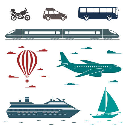 Various types of transport: car, bus, train, airplane, air balloon, sailing boat, ship.