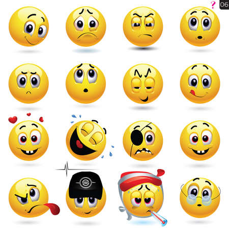 smiley face cartoon: Vector set of smiling ball icons with different face expression