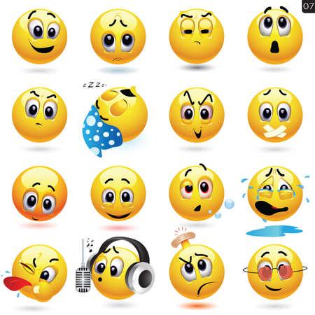 笑顔の異なる表情とボールのアイコンのベクトルを設定