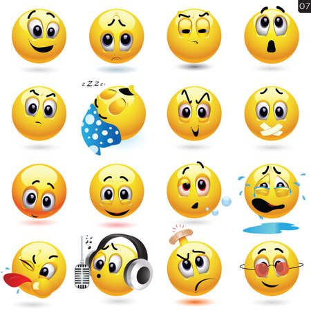 crying child: Vector set of smiling ball icons with different face expression