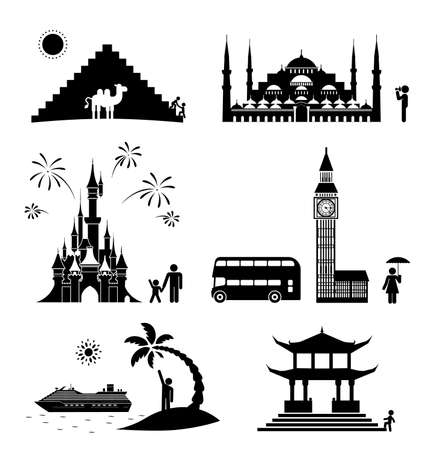 Vector set of famous monuments and travel icons. Travel and tourism icon set. Vector