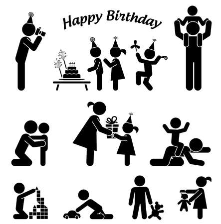 Childhood vector set. Pictogram icon set. Children birthday party. Vettoriali