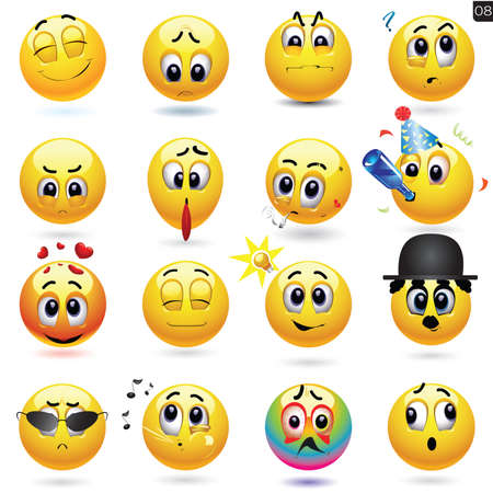Vector set of smiley icons with different face expression. Illustration