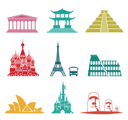Vector set of famous monuments and travel icons. Travel and tourism icon set. Illustration