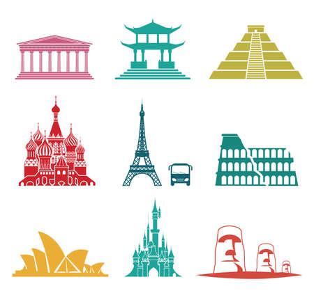 tourismus icon: Vektor-Reihe von ber�hmten Sehensw�rdigkeiten und Reise-Ikonen. Reisen und Tourismus Icon Set. Illustration