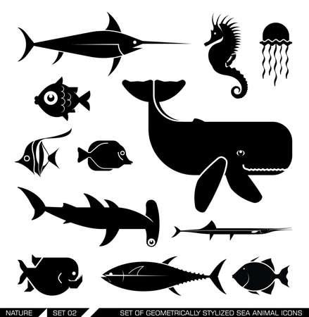 pez martillo: Conjunto de varios iconos de animales del mar: la ballena, tiburón martillo, pez espada, piraña, caballitos de mar, peces. Ilustración del vector. Vectores
