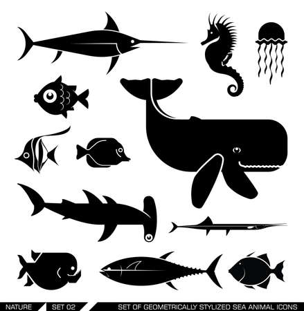 seahorse: Set of various sea animal icons: Whale, hammerhead shark, swordfish, piranha, seahorse, fish. Vector illustration.