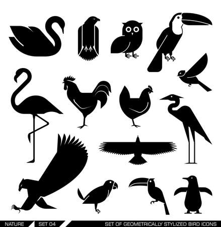 Set of geometrically stylized bird icons