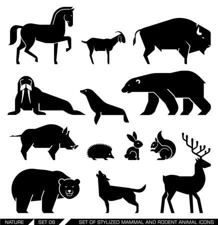 Set van verschillende zoogdieren en knaagdieren: paard, geit, bizons, zeehond, walrus, Arctic beer, beer, wilde zwijnen, egel, konijn, eekhoorn, wolf, herten ,. Vector illustratie.