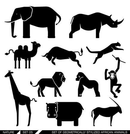 siluetas de elefantes: Conjunto de varios iconos de animales africanos