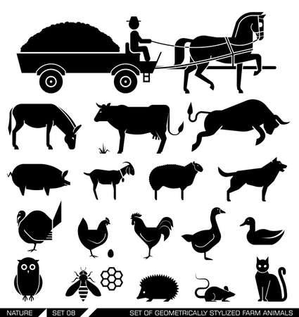 Insieme di varie icone di animali da allevamento: cavallo, mucca, capra, pecora, cane, gatto, pollo, tacchino. Illustrazione vettoriale.