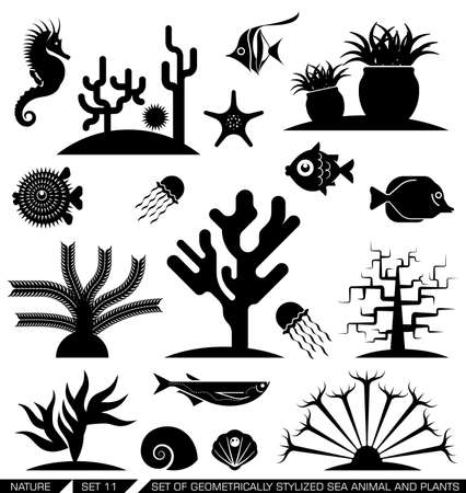 Set of geometrically stylized sea animal and plant icons. Vector illustration.Suitable for various purposes, can be incorporated in logo due to their geometrical style.