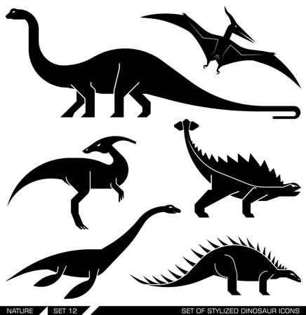 geometrically: Different types of prehistoric dinosaur icons: brontosaurus, diplodocus, apatosaurus, velociraptor, parasaurolophus, polacanthus, pterodactyl. Vector illustration.