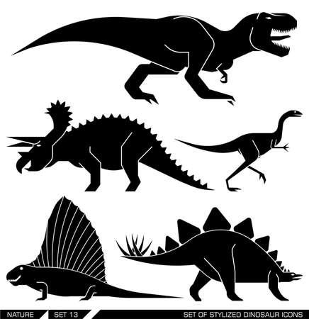 trex: Different types of prehistoric dinosaur icons: rex, trex, tyrannosaurus, triceratops, stegosaurus, lesothosaur. Vector illustration.