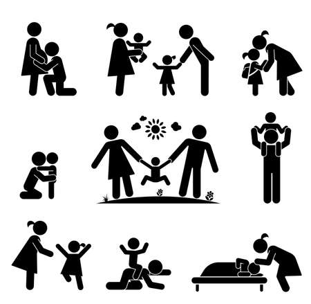 play icon: Children and their parents. Pictograms presenting parental love and care for children. Expecting baby, playing with children, hugging, preparing for school, putting children to bed. Illustration