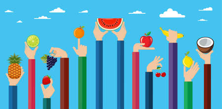 orchard fruit: Vegetarian food icons. Flat design hand icons holding different types of fruit high against the sky. Vector illustration