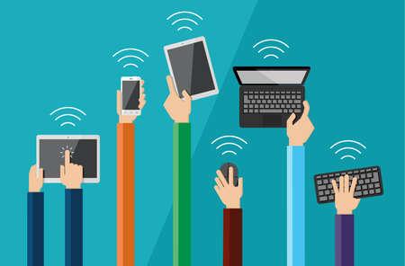 さまざまなハイテクのコンピューターや通信機器を保持している平らな手のアイコンのベクトルを設定