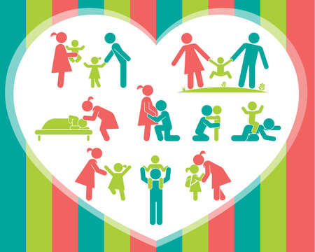 parental: Children and their parents. Pictograms presenting parental love and care for children. Expecting baby, playing with kids, hugging, preparing for school, putting children to bed. Vector pictogram illustration.