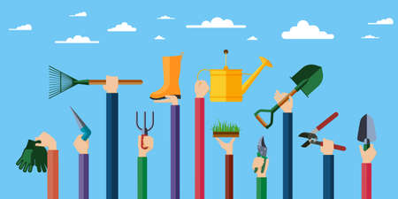 landscaping: Hands holding various items for gardening. Vector illustration.