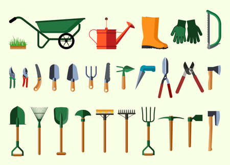 farm landscape: Garden tools. Flat design illustration of items for gardening. Vector illustration. Stock Photo