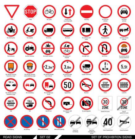Het verzamelen van de verplichte en verboden verkeersborden. Vector illustratie. Stock Illustratie