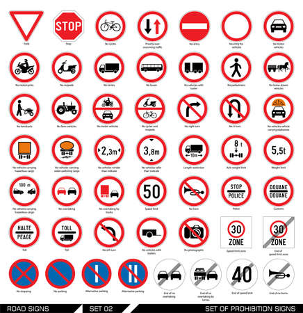 Collection of mandatory and prohibition traffic signs. Vector illustration. Vettoriali