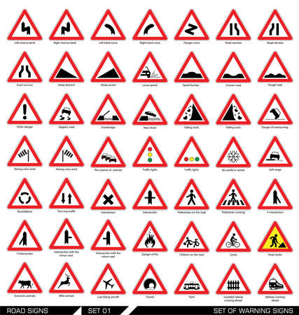 Collection of triangular warning traffic signs. Signs of danger. Vector illustration. Stock Illustratie