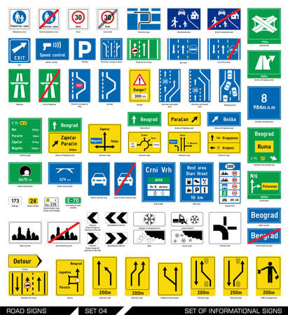 trafic: Collection of informational traffic signs. Vector illustration.