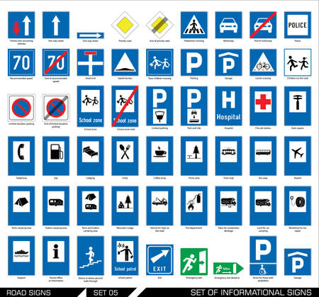 Collection of informational traffic signs. Vector illustration.
