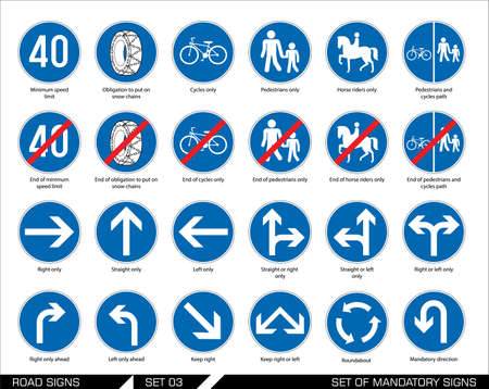 Collection of mandatory traffic signs. Vector illustration. Vettoriali
