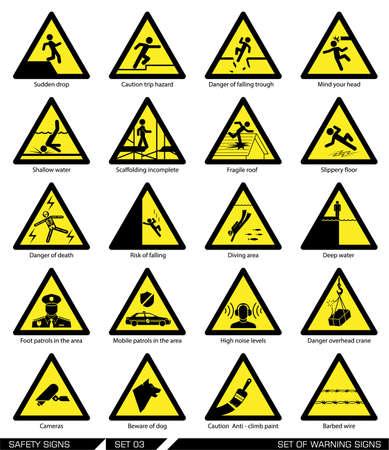 alertas: Colecci�n de las se�ales de advertencia. Ilustraci�n del vector. Los signos de peligro. Los signos de alerta.