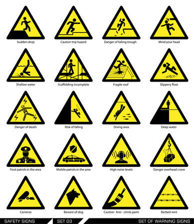 trip hazard: Collection of warning signs. Vector illustration. Signs of danger. Signs of alerts.