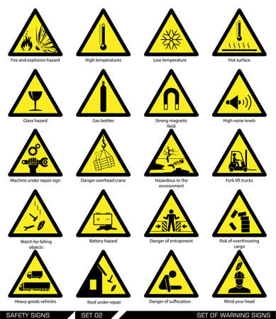 warn: Collection of warning signs. Vector illustration. Signs of danger. Signs of alerts.